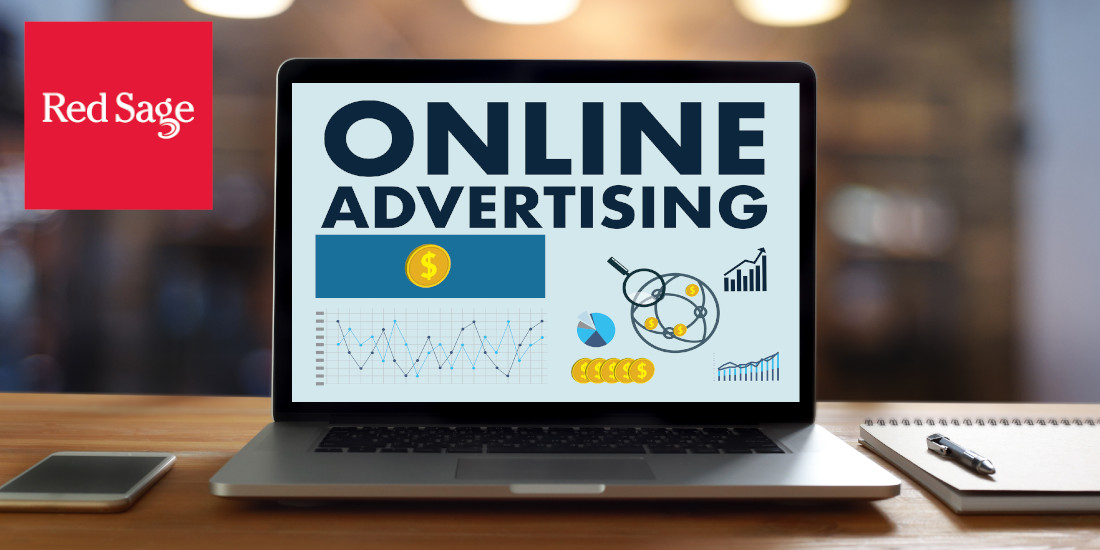 Computer displaying online advertising metrics